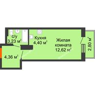 Студия 27,41 м² в ЖК Рассвет, дом № 11 - планировка