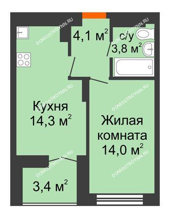 1 комнатная квартира 37,9 м² в ЖК Заречье, дом №1, секция 2