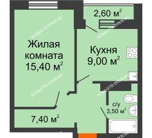 1 комнатная квартира 35,3 м² в ЖК Торпедо, дом № 1
