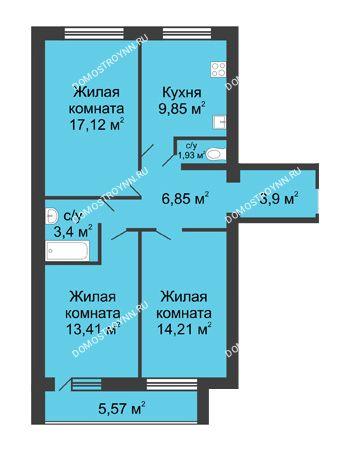 3 комнатная квартира 74,04 м² в ЖК Удачный, дом № 4