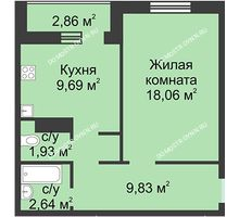 1 комнатная квартира 42,15 м² в ЖК Корабли, дом № 1