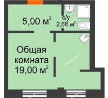 1 комнатная квартира 27,2 м² в Микрорайон Новая жизнь, дом позиция 19 - планировка