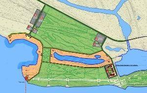 Пляжная зона на территории по левому берегу Волги напротив центра города Нижнего Новгорода (Борский район)