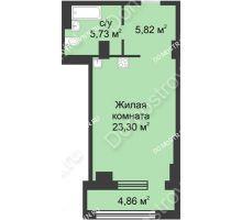 Студия 37,28 м² в ЖК Караваиха, дом № 5 - планировка