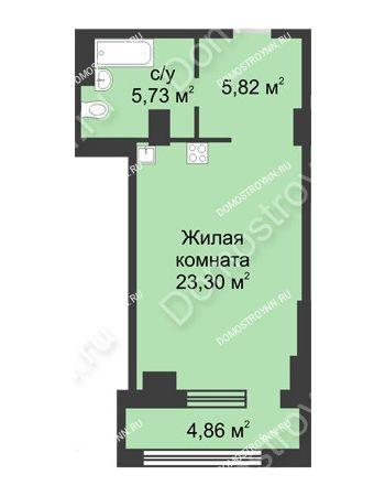 Студия 37,28 м² в ЖК Караваиха, дом № 5