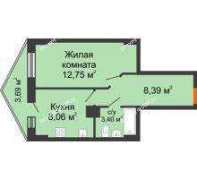 1 комнатная квартира 33,37 м² в ЖК Рубин, дом Литер 3 - планировка