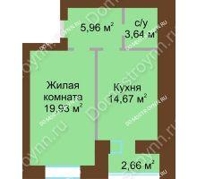 1 комнатная квартира 45,53 м² в ЖК Парк Горького, дом 62/6, № 3