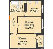 2 комнатная квартира 58,99 м² в ЖК Облака, дом № 2 - планировка