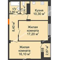 2 комнатная квартира 58,98 м² в ЖК Облака, дом № 2 - планировка