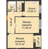 2 комнатная квартира 58,89 м² в ЖК Облака, дом № 2 - планировка