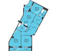 3 комнатная квартира 117,69 м², Клубный дом ГРАН-ПРИ - планировка