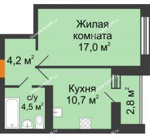 1 комнатная квартира 38,2 м² в ЖК Южный Берег, дом Литер 6 - планировка