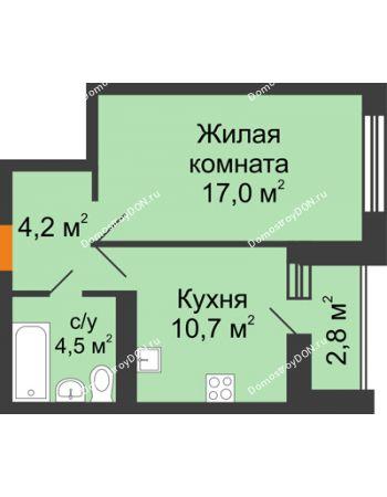 1 комнатная квартира 38,2 м² в ЖК Южный Берег, дом Литер 6