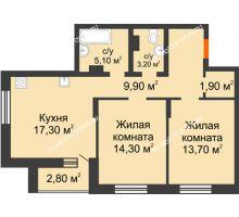 2 комнатная квартира 68,2 м² в ЖК Подкова на Цветочной, дом № 8 - планировка