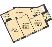2 комнатная квартира 73,66 м², Дом премиум-класса Коллекция - планировка
