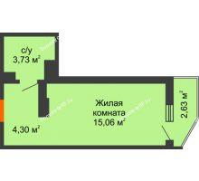 Студия 23,87 м² в ЖК Семейный парк, дом Литер 2 - планировка