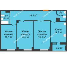 3 комнатная квартира 91,9 м² в ЖК Квартет, дом № 3 - планировка