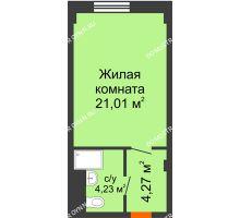 Студия 29,51 м², Апарт-Отель Гордеевка - планировка