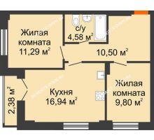 2 комнатная квартира 54,3 м², ЖК КМ Флагман - планировка