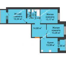 3 комнатная квартира 75,28 м², ЖК Вавиловский Дворик - планировка
