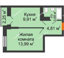 1 комнатная квартира 36,2 м², ЖК Открытие - планировка