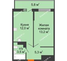 1 комнатная квартира 35,7 м², ЖК Акварели-3 - планировка