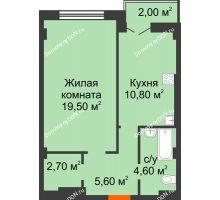 1 комнатная квартира 45,2 м² в ЖК Парк Островского 2, дом № 1 - планировка