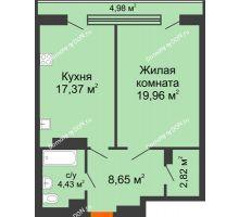 1 комнатная квартира 58,26 м², ЖК Царское село - планировка