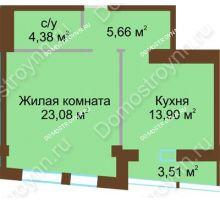 1 комнатная квартира 48,77 м², ЖК Либерти - планировка