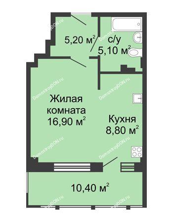1 комнатная квартира 46,4 м² в ЖК Мега, дом № 2