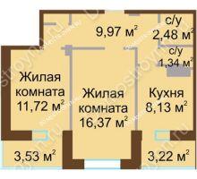 2 комнатная квартира 53,4 м² - Жилой дом Каскад на Даргомыжского
