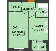 1 комнатная квартира 39,44 м² - Дом на Чаадаева
