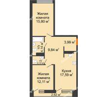 2 комнатная квартира 66,88 м² в Микрорайон Видный, дом ГП-20 - планировка