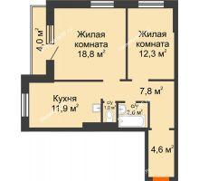 2 комнатная квартира 61 м² в ЖК Лесной массив, дом Строение 9 - планировка