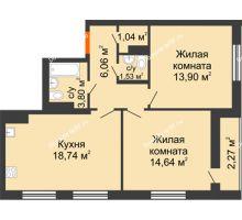 3 комнатная квартира 60,53 м² в ЖК intellect-Квартал (Интеллект-Квартал), дом 2 секция - планировка