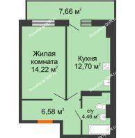 1 комнатная квартира 40,26 м² в ЖК Свобода, дом № 1 - планировка