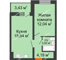 1 комнатная квартира 36,81 м², ЖК Инстеп.Победа - планировка