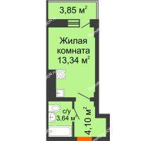 Студия 22,24 м² в ЖК Встреча, дом № 1 - планировка