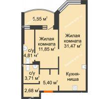 2 комнатная квартира 62,8 м² в ЖК Золотое сечение, дом №1, 2 этап - планировка