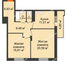 2 комнатная квартира 69,24 м² в ЖК Циолковский, дом № 5 - планировка
