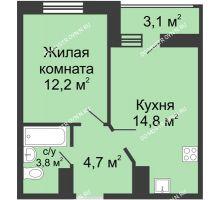 1 комнатная квартира 37,05 м² в ЖК Цветы, дом № 10