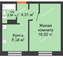 1 комнатная квартира 32,35 м² в ЖК Мончегория, дом № 6 - планировка