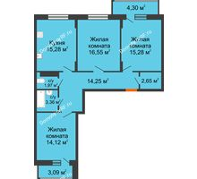 3 комнатная квартира 87,15 м² в ЖК Политехнический, дом 1,2 секция - планировка