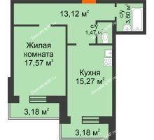 1 комнатная квартира 57,39 м², ЖК Дом на Троицкой - планировка